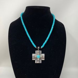 Magnesite necklace with onyx & sterling accents